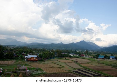 Small village among the mountain in Nan province, Northern Thailand