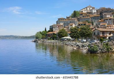The small village of Anguillara Sabazia located on Bracciano Lake in Lazio, Rome, Italy.