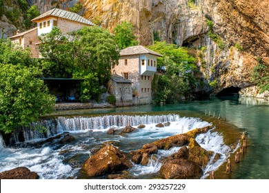Small village Blagaj on Buna spring and waterfall in Bosnia and Herzegovina