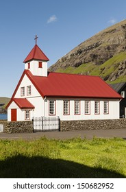 Small village church in Tjornuvik in the Faroe Islands