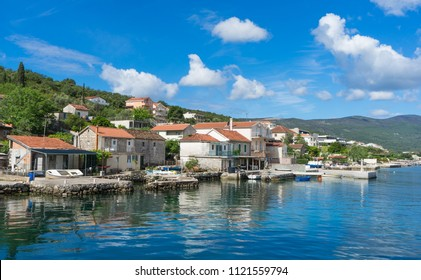 Small village at the coast in Montenegro on a sunny day