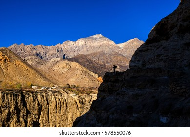 A small village of Ghyakar between the peaks of Mustang and Ghyakar Khola gorge.