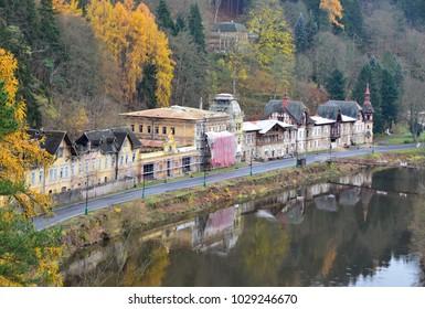 Small, village Kyselka with historical houses near Karlovy Vary