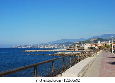 Small village on Mediterranean sea in summer, Santo Stefano al Mare, Liguria, Italy