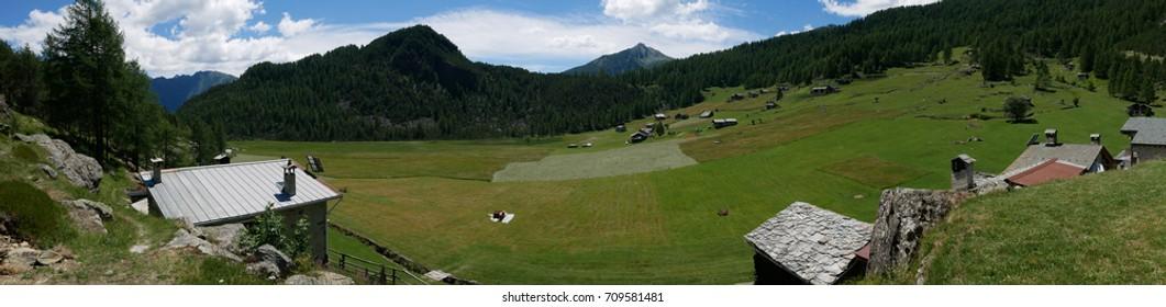 Small village on the mountains in Valtellina, northern Italy