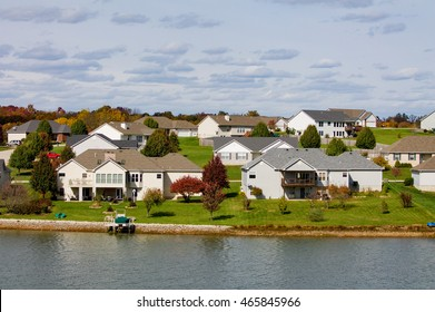 small village on the shore of a lake with wooden houses in the United States