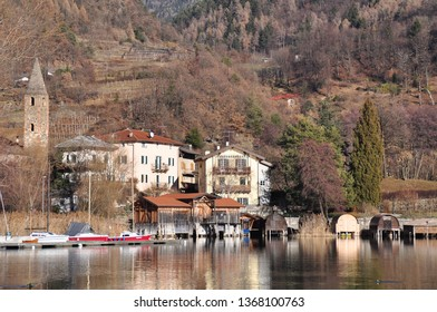 A small village on the shores of a lake in Trentino Alto Adige, Italy