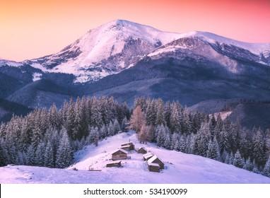Small village on a snowy hill under Ukrainian mountain Petros. Beautiful winter landscape. Carpathians, Ukraine, Europe.