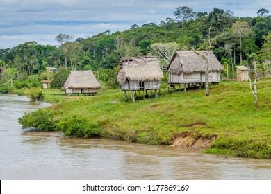 Small village in a peruvian jungle