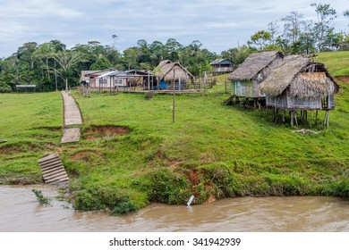 Small village in a peruvian jungle