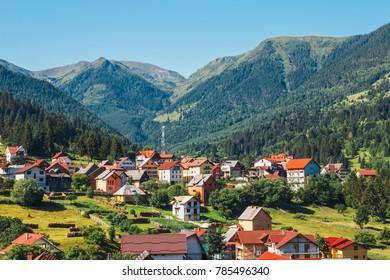 Small village in the Romanian Carpathians, summer season, Romania