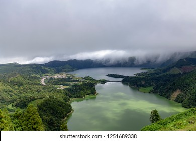 the small village of Sete Cidades next to Lagoa Verde and Azul on island of Sao Miguel.