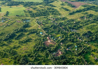 Small village at summer. Bird eye view