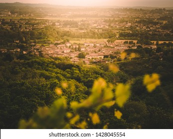 small village at sunset light surrounded by green, Friuli, Italy
