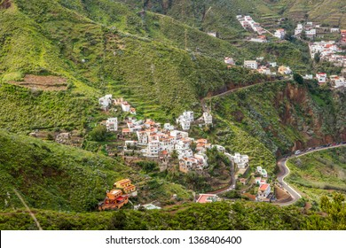 Small village Taganana in green mountains by the Anaga biosphere reserve on the north of Tenerife, Canary islands, Spain