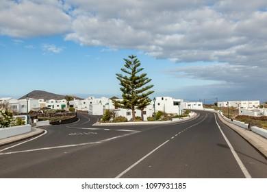 small village of Tinajo in Lanzarote, Spain uder blue sky