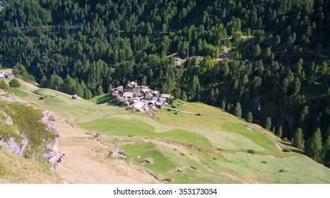 Small village in a valley in the swiss Alps, Zermatt