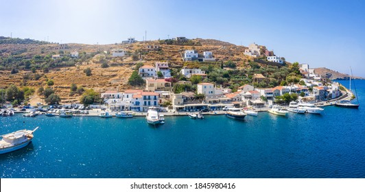 The small village of Vourkari on the island of Tzia, Kea, Greece, with moored yachts and sailboats in the Marina