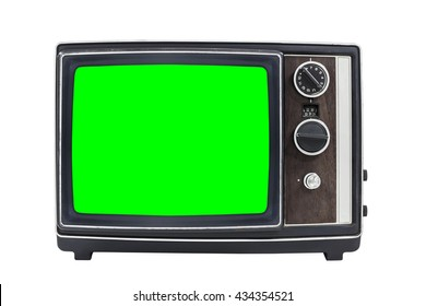 Small vintage portable television with chroma green screen.