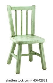 Small Vintage Wood Chair with Worn Green Paint