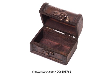 Small vintage wooden box open on isolated white background