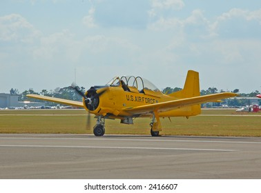 Small vintage yellow airplane