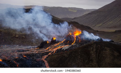 A small volcanic eruption in Mt Fagradalsfjall, Southwest Iceland, in March 2021. The eruption occurred only about 30 km away from Reykjavík.
