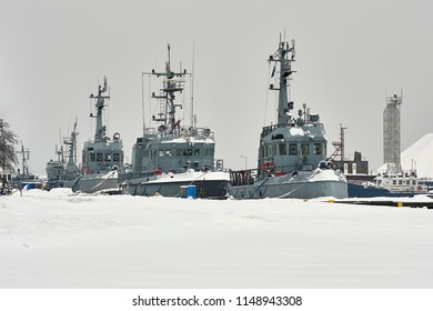 Small war ship in the winter port