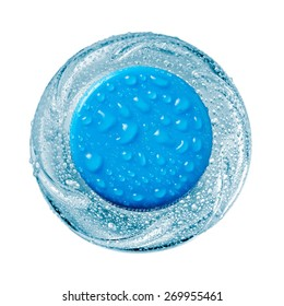 Small water bottle with drops, top view