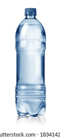 Small water bottle on white background with clipping path