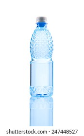 Small water bottle over white background