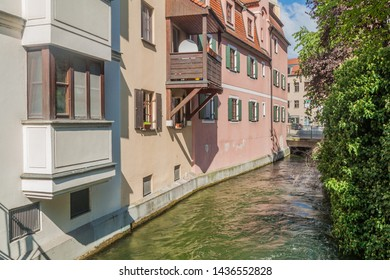 Small water canal in the old town of Augsburg, Germany