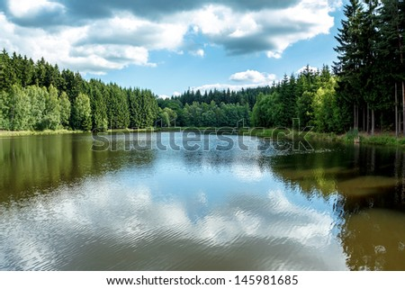 small water water reservoir with blue sky