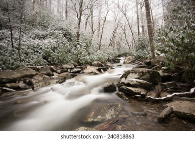 Small waterfall along with Chimney top trail at Smoky mountain, Tennessee, USA in winter time.