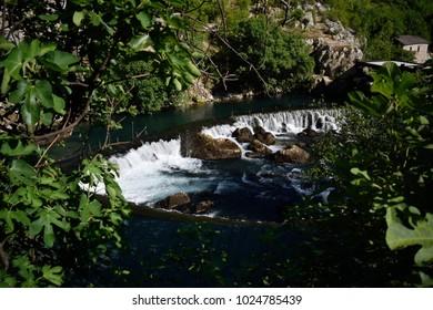 A small waterfall in the Buna river of Blagaj, Bosnia and Herzegovina