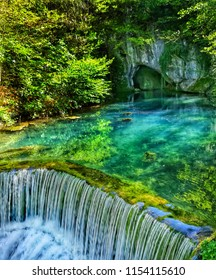Small waterfall and cave in small village in Serbia named Krupaja.