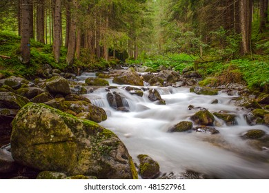 Small waterfall in a forest river with silky water around the rocks in the stream. Long exposure