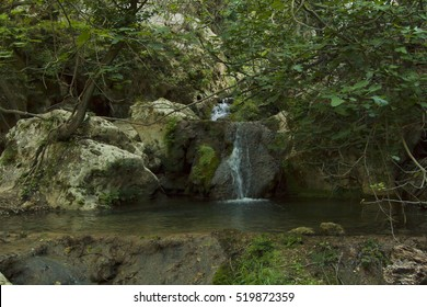 A small waterfall in the forests of West of Crete island, Greece