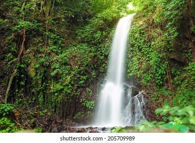 Small waterfall in jungle near Lake Maninjau in West Sumatra, Indonesia