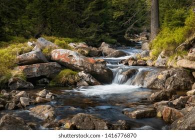 Small waterfall in the Krkonose National park Sumava, Certova Strouha, Czech Republic