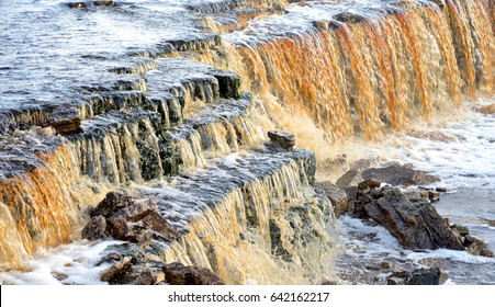 Small waterfall on Tosna River in Leningrad Region, Russia.
