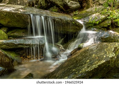 Small waterfall over rocks in the North Carolina mountains