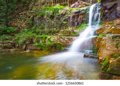A small waterfall pool of mountain springs and streams on the Taihang Mountains, China