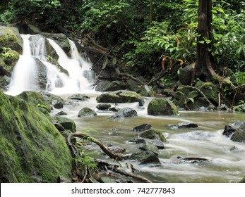 Small waterfall in the rainforest somewhere in Oahu