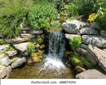 small waterfall and rocks