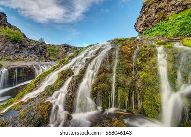 A small waterfall seen in the Gjain valley in Iceland