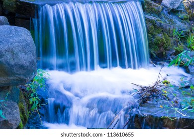 Small Waterfall in shades of blue.