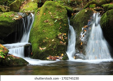 Small waterfall in the Smoky Mountains during fall