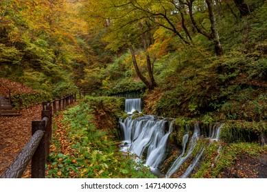 Small waterfalls around Shiraito waterfall during autumn season at Karuizawa, Japan.