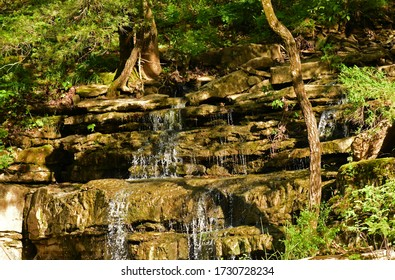 small waterfalls down a hillside